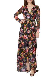Betsey Johnson Floral-Print Wrap Maxi Dress