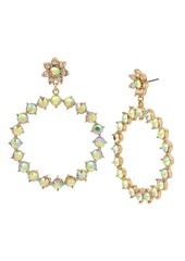 "Betsey Johnson Flower & Stone Gypsy Extra Large 3"" Hoop Earrings"
