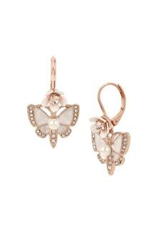 Betsey Johnson Flower Crystal Butterfly Drop Earrings