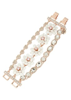 Betsey Johnson Flower Crystal Multi-Row Bracelet