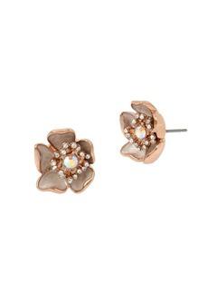 Betsey Johnson Flower Crystal Stud Earrings