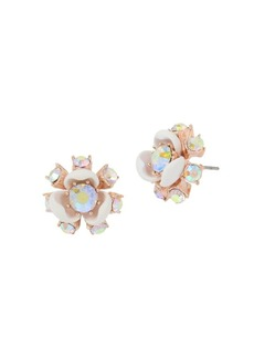 Betsey Johnson Flower Crystal Stud Earrings