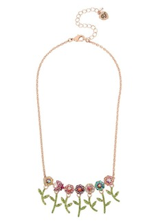 Betsey Johnson Fruit Flies Colorful Crystal Flower and Bettle Frontal Necklace
