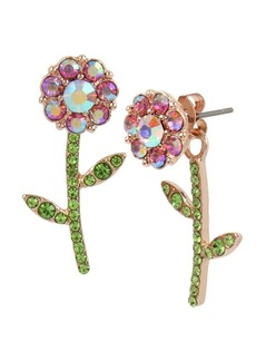 Betsey Johnson Fruit Flies Crystal Flower Front Back Earrings