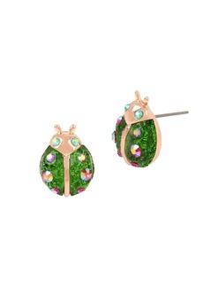 Betsey Johnson Fruit Flies Crystal Lady Bug Stud Earrings