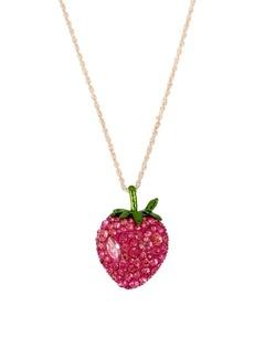 Betsey Johnson Fruit Flies Crystal Strawberry Pendant Necklace
