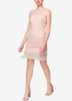 Betsey Johnson Geo-Lace Chiffon Sheath Dress