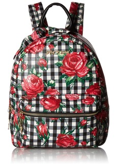 Betsey Johnson Gingham Bow Backpack black floral