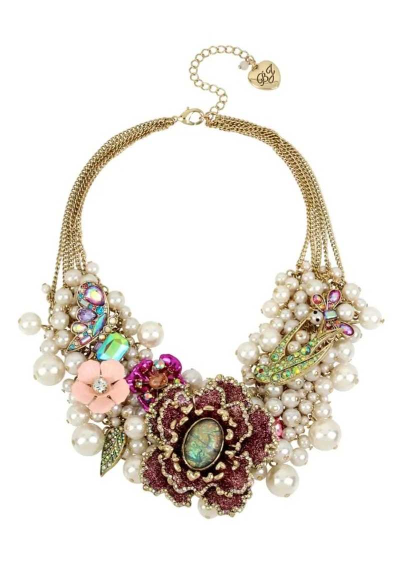 556e09c173022 Betsey Johnson Glitter Flower and Faux Pearl Statement Necklace