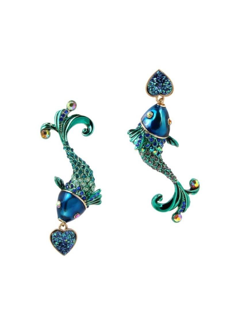 1db8f5c823c ... Two Tone Pavé Skull Long Drop Earrings Fashion. Betsey Johnson Glitter  Reef Fish Mismatch Drop Earrings. Betsey Johnson Glitter Reef Fish Mismatch  Drop