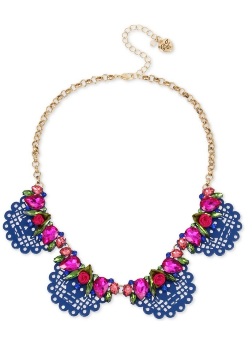 "Betsey Johnson Gold-Tone Crystal & Fabric Rose Scalloped Statement Necklace, 16"" + 3"" extender"