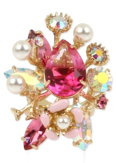 Betsey Johnson Gold-Tone Crystal & Imitation Pearl Cluster Statement Ring