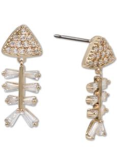 Betsey Johnson Gold-Tone Crystal Fish Skeleton Drop Earrings