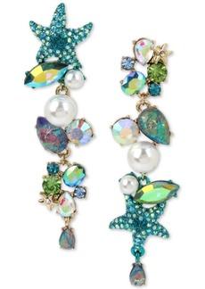 Betsey Johnson Gold-Tone Crystal, Pave & Imitation Pearl Sea-Themed Mismatch Earrings
