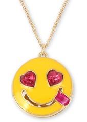 "Betsey Johnson Gold-Tone Crystal Smile Emoji Pendant Necklace, 16"" + 3"" extender"