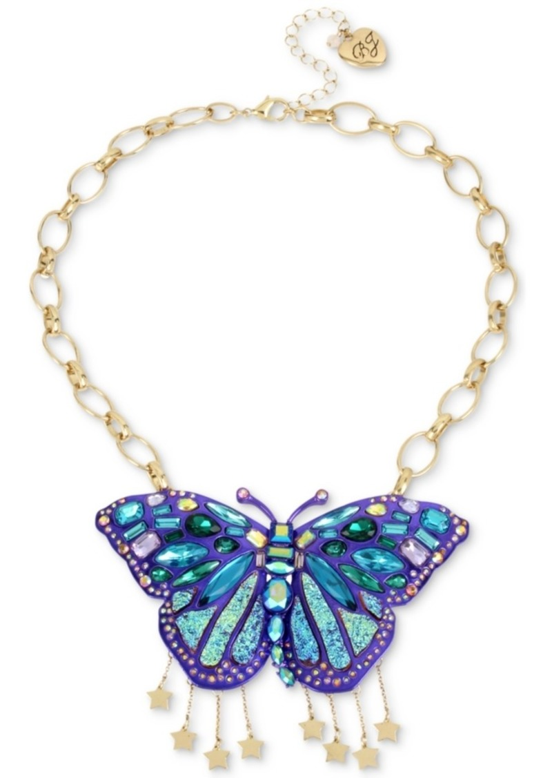 a8a4c3c9a5c33 Betsey Johnson Gold-Tone Glitter Stone Butterfly Statement Necklace, 17
