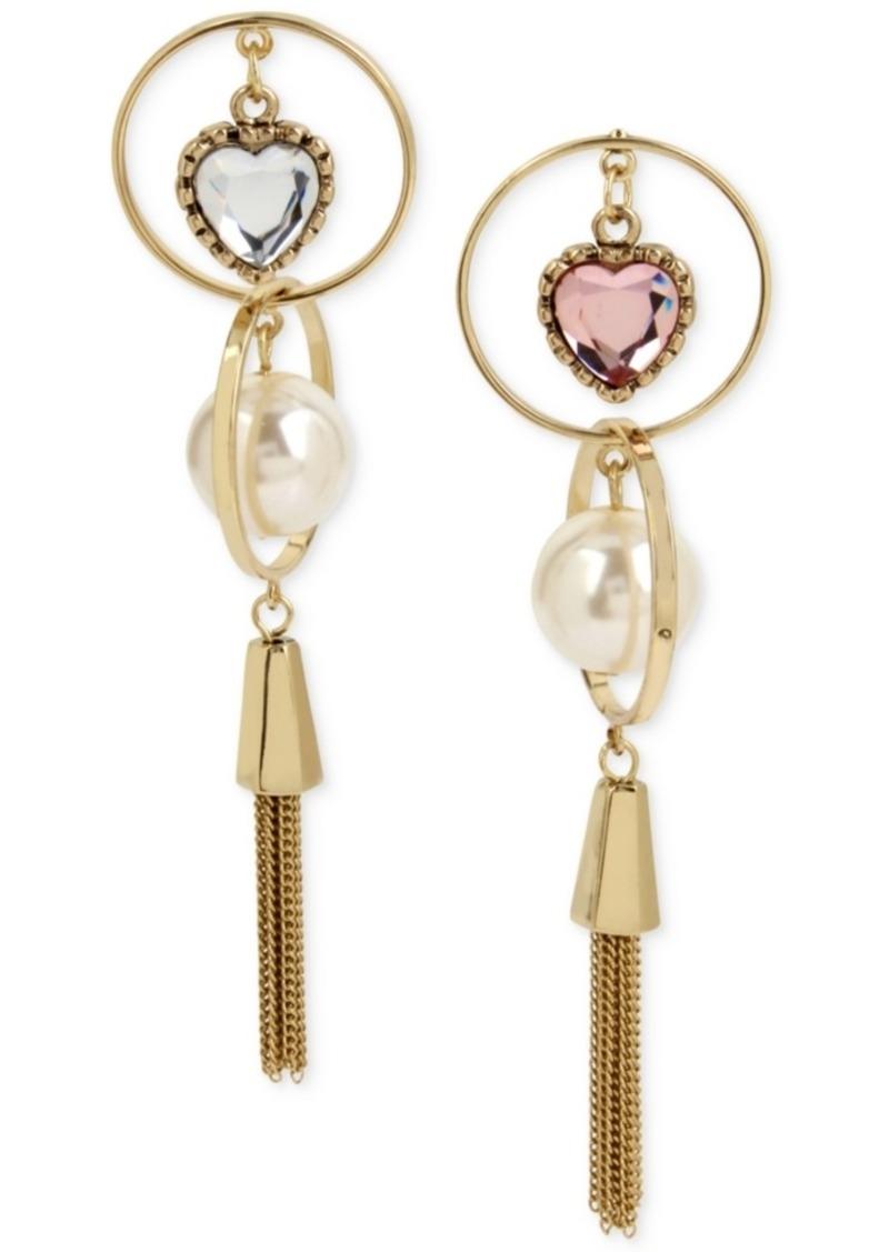 63a5ed651 Betsey Johnson Gold-Tone Imitation Pearl & Crystal Heart Mismatch Fringe Drop  Earrings
