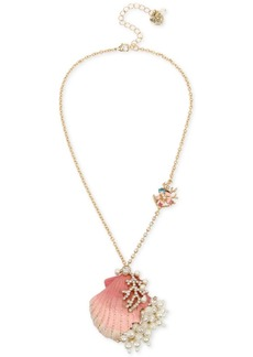 3f8e012f02023 Betsey Johnson Gold-Tone Imitation Pearl & Crystal Shell Pendant Necklace,  16
