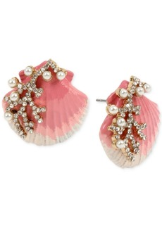 bc91b1044fd0c Betsey Johnson Gold-Tone Imitation Pearl & Crystal Shell Stud Earrings