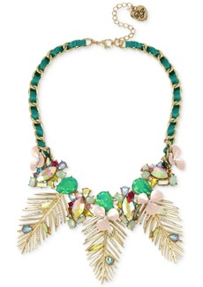 """Betsey Johnson Gold-Tone Multi-Stone Flower & Leaf Ribbon-Laced Statement Necklace, 15-1/2"""" + 3"""" extender"""