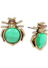 Betsey Johnson Gold-Tone Pave & Stone Bug Stud Earrings