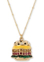 "Betsey Johnson Gold-Tone Pave Burger Pendant Necklace, 16"" + 3"" extender"