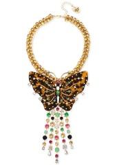 "Betsey Johnson Gold-Tone Tortoise-Look Butterfly Stone Fringe Pendant Necklace, 16"" + 3"" extender"
