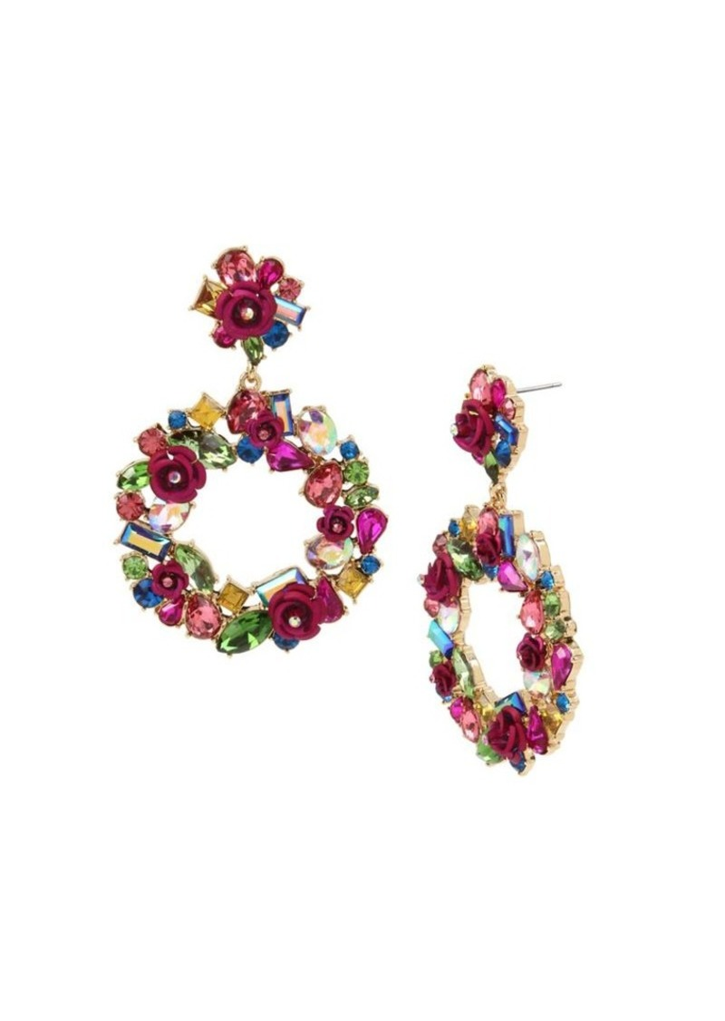 Betsey Johnson Goldtone & Multicolored Crystal Wreath Drop Earrings
