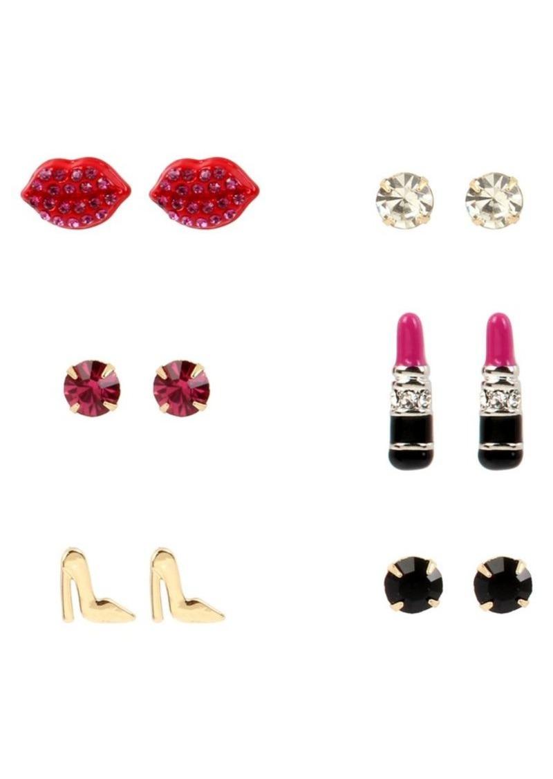 Betsey Johnson Goldtone Lipstick Stud Earring Set in Gift Box