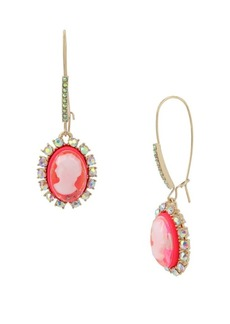 Betsey Johnson Granny Chic Crystal Cameo Drop Earrings
