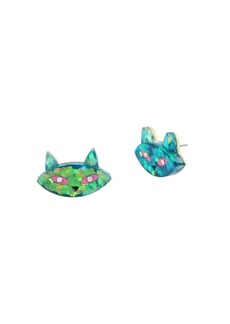 Betsey Johnson Granny Chic Crystal Cat Face Stud Earrings