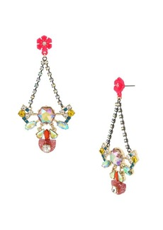 Betsey Johnson Granny Chic Crystal Colorful Chandelier Earrings
