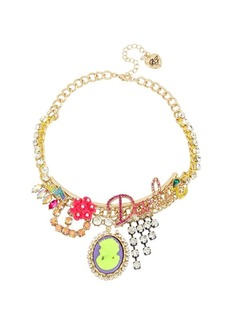Betsey Johnson Granny Chic Crystal Darlin Charm Frontal Necklace