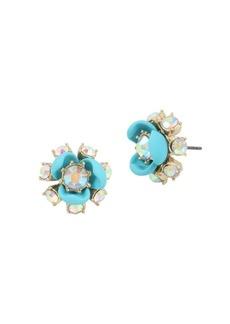 Betsey Johnson Granny Chic Crystal Flower Earrings