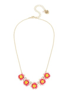 Betsey Johnson Granny Chic Crystal Flower Frontal Necklace