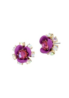 Betsey Johnson Granny Chic Crystal Flower Stud Earrings