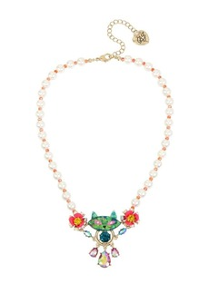 Betsey Johnson Granny Chic Faux Pearl and Crystal Colorful Cat Frontal Necklace