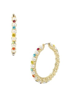 Betsey Johnson Granny Chic Faux Pearl and Crystal Colorful Stone Hoop Earrings