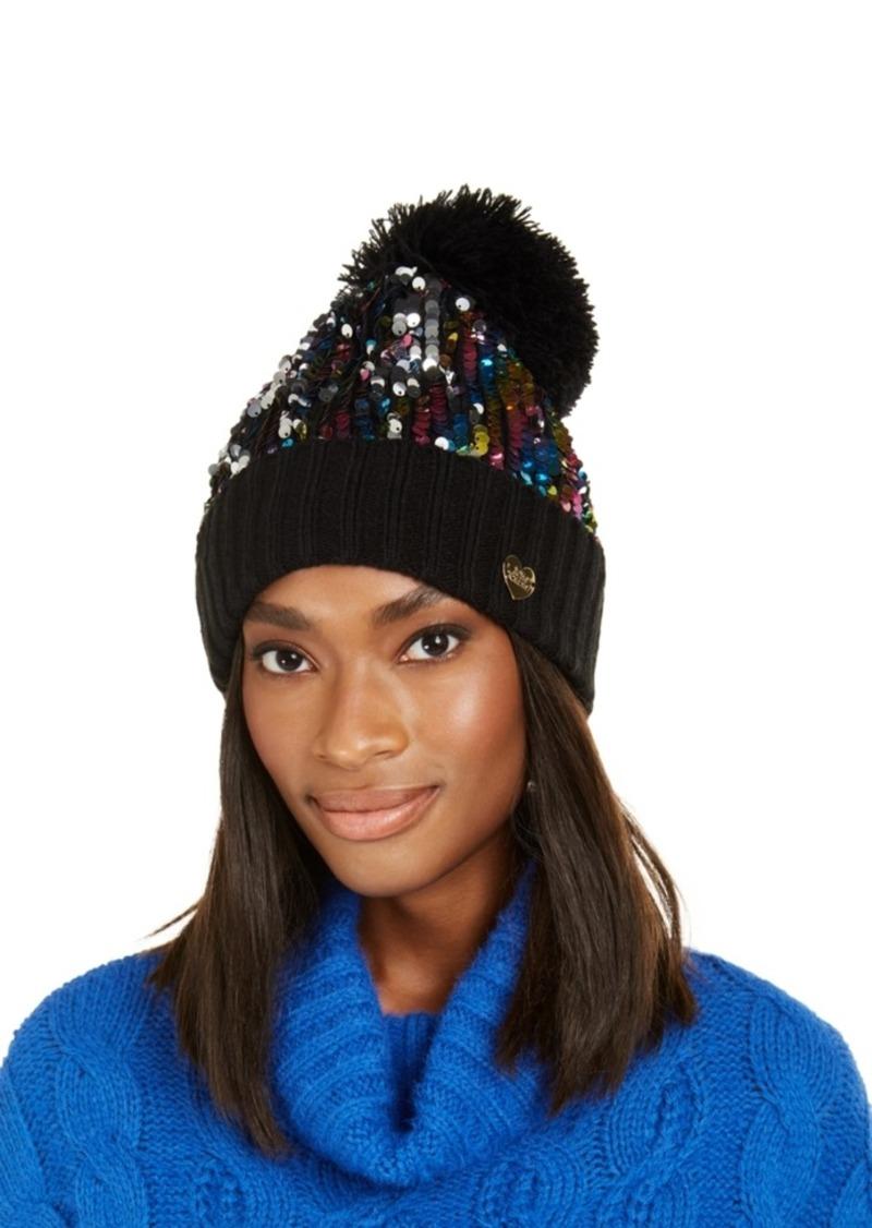 Betsey Johnson High-Shine Sequin Cuff Hat