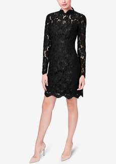 Betsey Johnson Illusion Lace Mock-Neck Sheath Dress