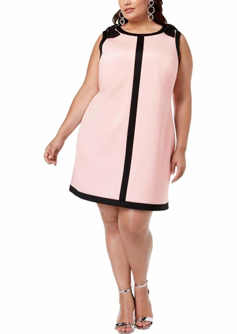 Betsey Johnson Junior's Plus Size Scuba Shift Dress with Bows on The Shoulders