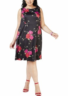 Betsey Johnson Junior's Plus Size Vintage Floral Print Scuba Fit and Flare Dress