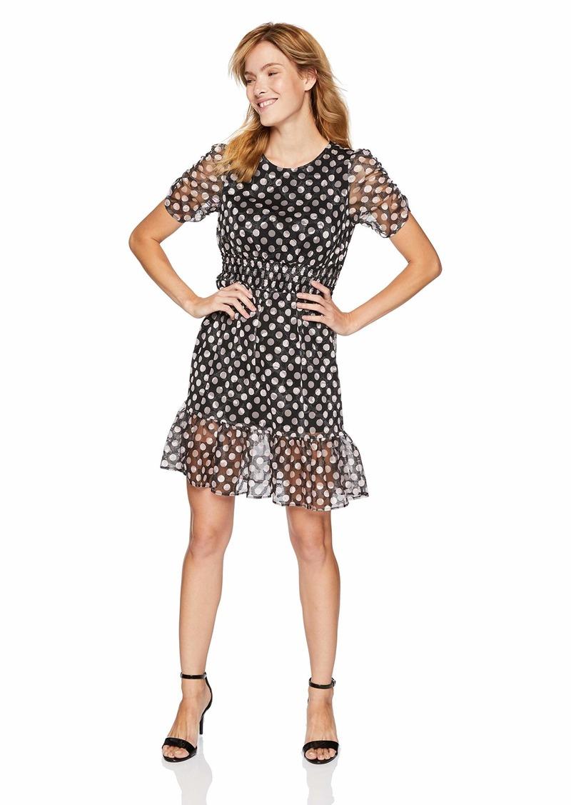Betsey Johnson Junior's Polka Dot Lace Dress with Ruffled Hem