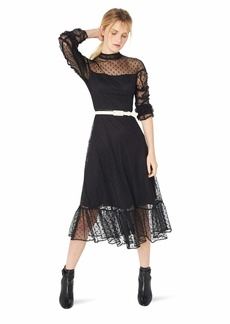 Betsey Johnson Junior's Ruched Sleeve Mock Neck Dot Maxi Dress