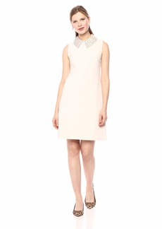 Betsey Johnson Junior's Scuba Crepe Dress with Embellished Collar