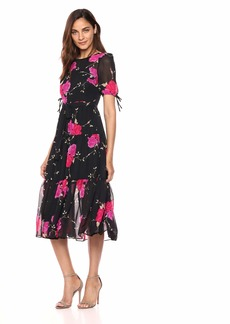 Betsey Johnson Junior's Vintage Floral Print Tiered Maxi Dress