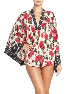 Betsey Johnson Kimono Sleeve Crepe Romper