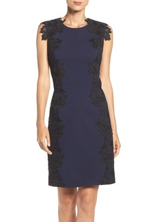 Betsey Johnson Lace Trim Scuba Sheath Dress