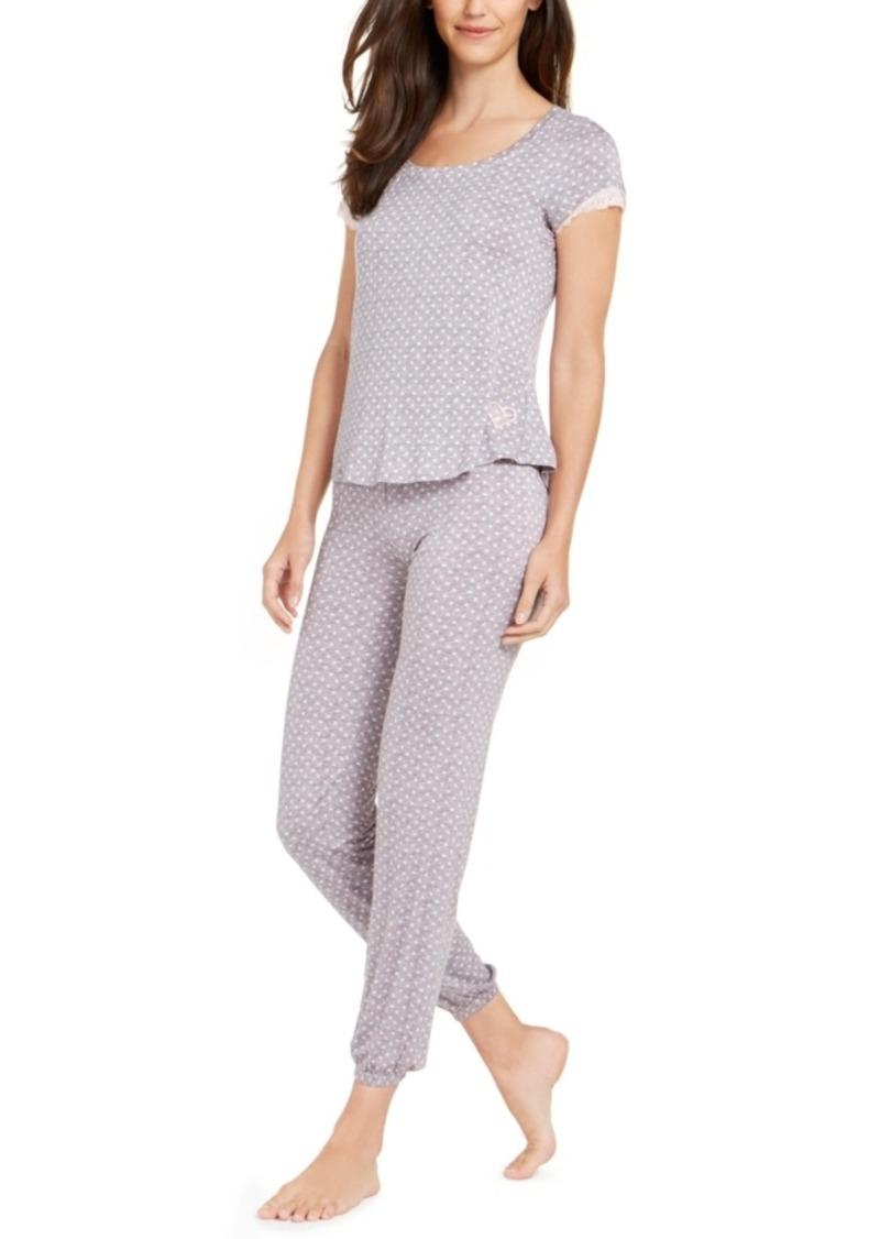 Betsey Johnson Lace-Trim Top and Pants Pajamas Set