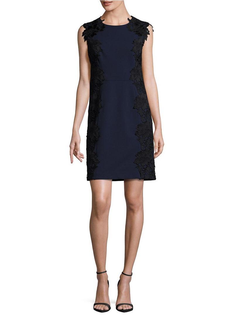 BETSEY JOHNSON Lace-Trimmed Sleeveless Sheath Dress